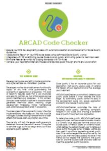 ARCAD CodeChecker Datasheet