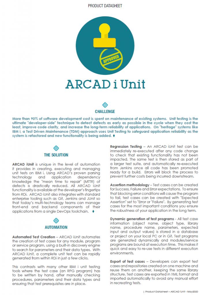 ARCAD iUnit Datasheet