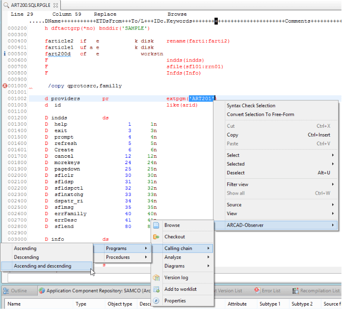 Instant access to the 'Program Calling Chain' from RPG source code edited in LPEX
